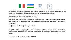 The General Confederation of Italian Industry in Uzbekistan (Confindustria Uzbekistan) is to be open at Turin Polytechnic University in Tashkent!