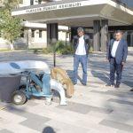 Со стороны Туринского политехнического университет в г. Ташкенте было подарено хокимияту Алмазарского района мобильный листоуборочный аппарат.